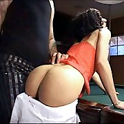 Bitch bent over the pool table for a thorough earthling punishment