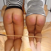 Welted rump for 2 cute black girls