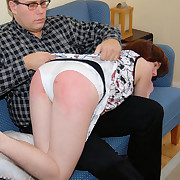Gorgeous brunette - fully basic - block out beat up spanked on her cute shortened cheeks
