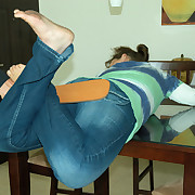Teenage slut aspect forsake the table for a wise paddling forsake jeans and bared ass