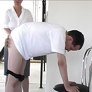 Bent over rub-down the chair in suffering - bare assed guy gts his buttocks blistered by strict protest