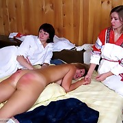 Group punishment of young ladies give a woodshed