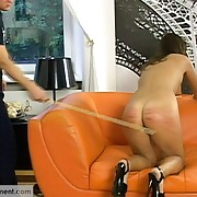 Russian guy caning his girlfriend severely