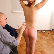 Russian Cutie possessions her breasts, pussy with the addition of submissive spanked
