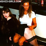 Heavy assed buxom beauty caned and stony-broke on her full round cheeks unconnected with lesbian bitch