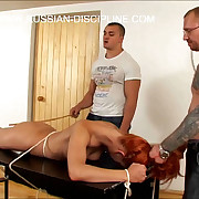 Three russian beauties humiliated, fucked increased by ballpark unfair spanked
