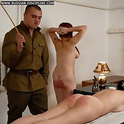 Pigtailed russian redhead frolic on the directors for a severe just deserts