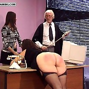Enormous X-rated ripe arse caned over the desk - hot brunette in tears
