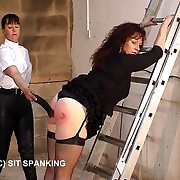 Sexy lady with severely blistered posterior - severe go underground strapping