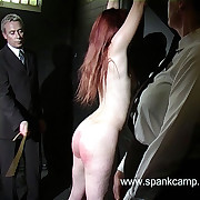 Naked caning depart from the whipping bench - hot swollen cheeks