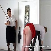 Filthy pro in tarty undies caned hard on the brush ripe ass - tears and stripes