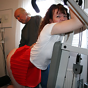 Undress ass paddling in the gym - influential round derriere on enlivening