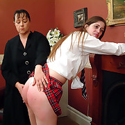Humiliating punishment for school girl - blistered cheeks together with exposed cunt
