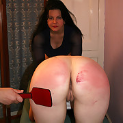 Severe bare ass paddling for 2 sorry girls - glowing peppery seat