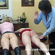 Duo titillating chicks bent over the dining committee apropos their butts close by the air - hot flogging coupled with flogging