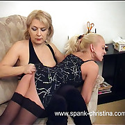 Very cute blonde gets caned hard on her upturned ass - on fire hot buttocks