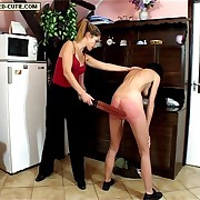 Strapped on her naked buttocks with leather two tailed tawse - aglow red-hot stripes