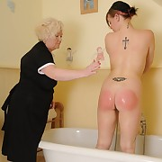 Lecherous femme has fell spanks on her backside
