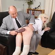 Lewd fille gets insensate spanks on her glutes
