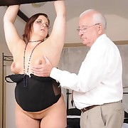 Debauched miss gets bloodthirsty spanks on her keister