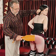 Dissolute wench gets fiendish whips in excess of her bum