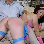 Smutty dame has her rump flagellated
