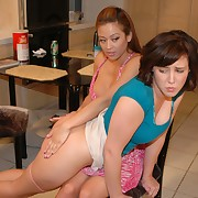 Cute skirt gets her can spanked