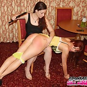 Salacious lassie has satanic spanks on the brush buns