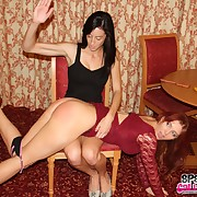 Raunchy wench has cruel spanks on her nates