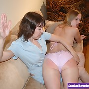 Lustful broad has harsh spanks on her bottom