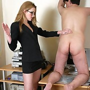 The lady boss was flogging office boy