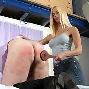 Blonde chick spanked boyfriend