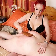 Redhead wife spanked submissive husband