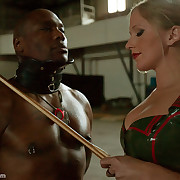 There are lots of humiliation with sexy blonde and slave.
