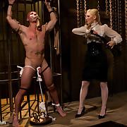 The headmistress abused and teased a hose slaveman