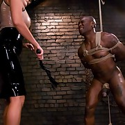 Sado lady flogged and arse pumped a slaveman