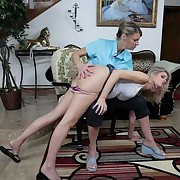 Skinny blond acquires over the knee spanking