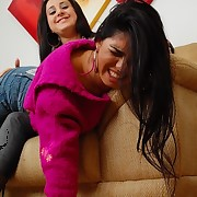 Latina gets spanked by her asian roommate
