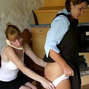 Schoolgirl spanked otk