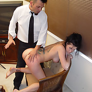 Hot suntanned babe rough spanked