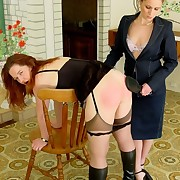Brutal dominant-bitch is thrashing and caning two sexy youthful Beauties