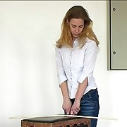 Blonde in jeans gets hard bottom caning