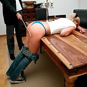 Young blonde girl was punished