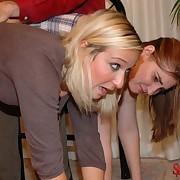 Old man spanked two bad girls