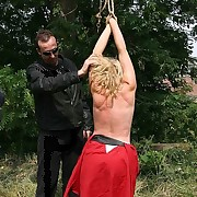 Blonde bullwhipped outdoor