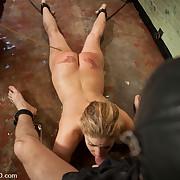 Slave bitch sucks hard dick in service