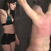 Dungeon whipping torture of a poor slave by his Lady