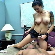 Hot tattooed honey presses her studs face into her ass