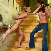 Slave whipped on the stairway