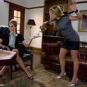 Servant gal caned and screwed by lesbian.